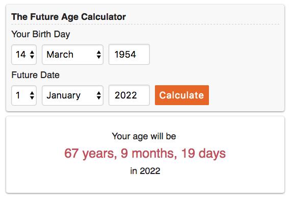 Calcule a sua idade no futuro
