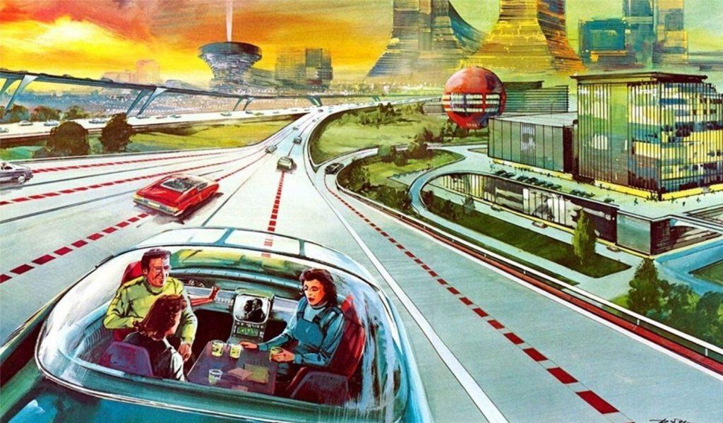 ilustração das estradas com carros autônomos - robocars