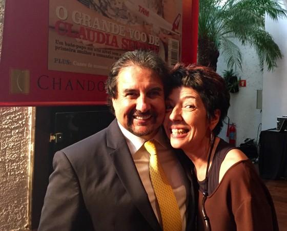 Beia Carvalho e o empresário Norberto Busto no evento de lançamento da edição